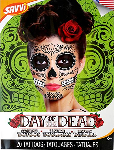 Black Skeleton Day of the Dead Temporary Face Tattoo Kit: Men or Women - 2 Kits by Savvi