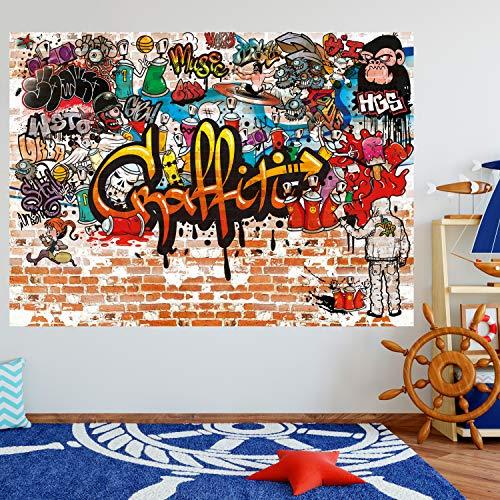 murimage Papel Pintado Grafiti 183 x 127 cm Incluye Pegamento Hip Hop Cuarto de los Niños Graffiti Art Grunge Arcoiris Colorido Fotomurales