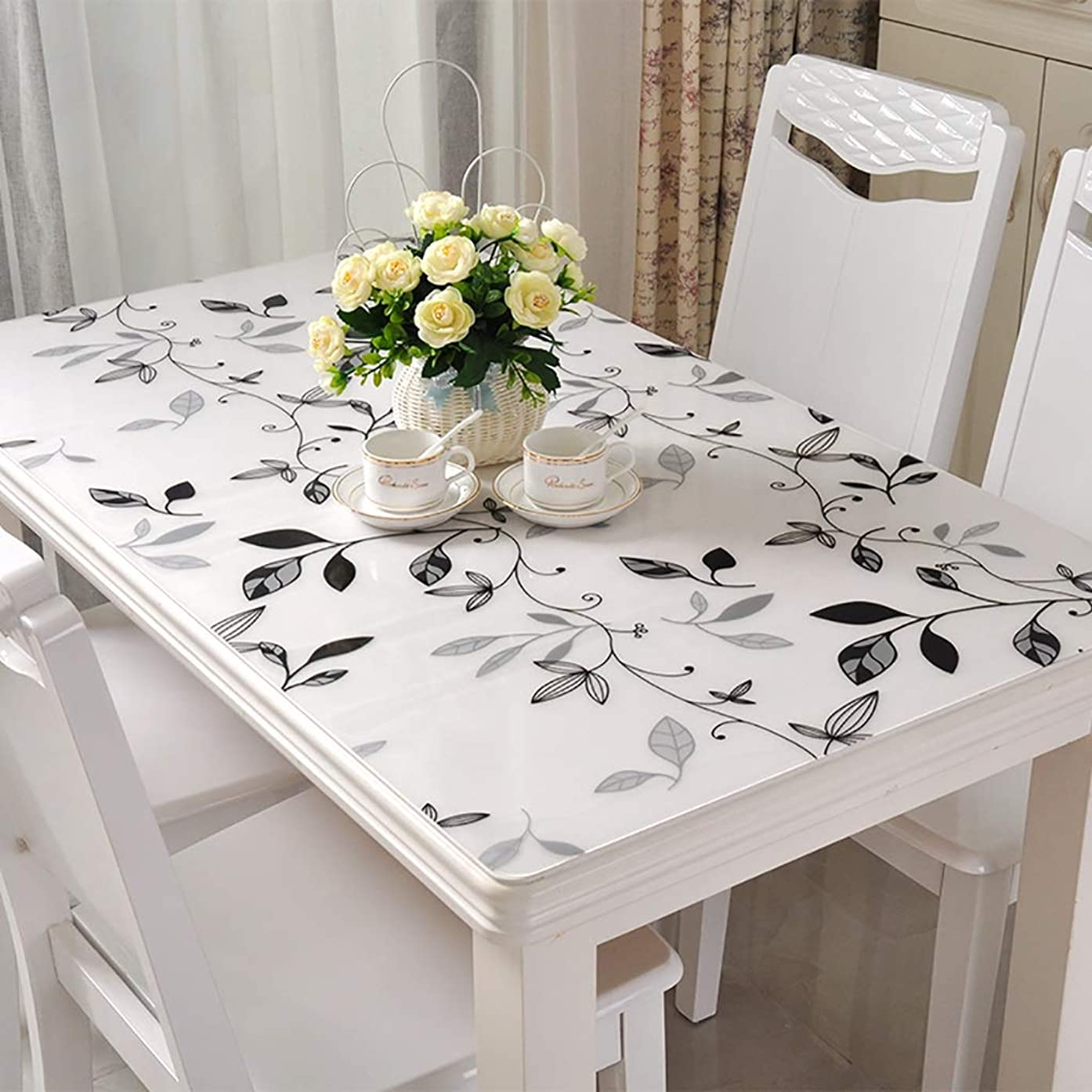 GFZB1201 Tablecloths PVC Waterproof Tablecloth, Anti-scalding Soft Glass Plastic Transparent Frosted Crystal Plate Table Cloth for Coffee Table Dining Table (Color : H, Size : 60120CM)