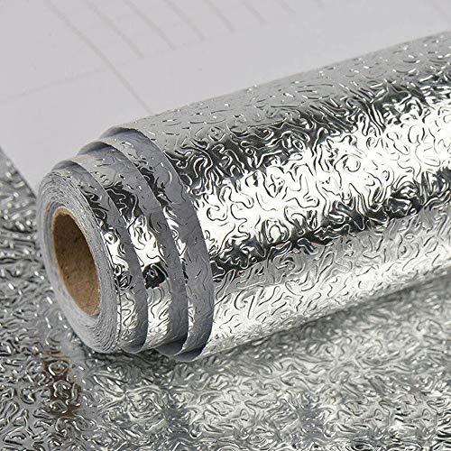 Carte da Parati autoadesive Impermeabili Adesivo per cassetti in foglio di alluminio Carta da Parati del Foglio di Alluminio per armadi cassetti new lifestyle buccia d'arancia 40 x 500 cm(Argento)