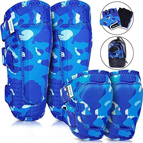 MOVTOTOP Knieschoner, Knieschützer für Kinder, Kinder Knie- und Ellbogenschützer mit Handschuhen - Verstärkte Nähte, Kleinkind-Sportschutzausrüstung mit Netztasche für KinderMittel