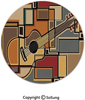 Music Decor Round Area Rug,Funky Fractal Geometric Square Shaped Background with Acoustic Guitar Figure Art,for Living Room Bedroom Dining Room,Round 5'x 5',Multi