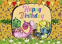 HDお誕生日おめでとう写真撮影の背景7X5FT木こり男の子花リボン恐竜写真背景パーティー壁紙部屋壁画小道具BJLSPH295