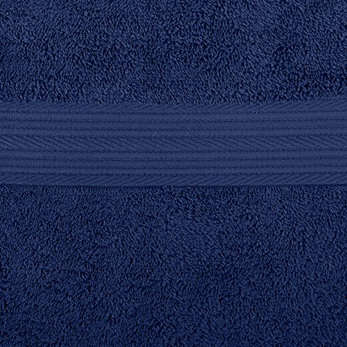 Amazon Basics 6-Piece Fade-Resistant Cotton Bath Towel Set - Navy Blue Florida