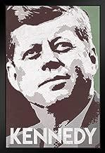 President John F Kennedy Pop Art Portrait Democrat Politics Politician POTUS Green Black Wood Framed Art Poster 14x20