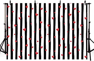MEHOFOTO 8x6ft Bridal Shower Wedding Photo Studio Background Props Black and White Stripe Red Hearts Love Pattern Birthday Party Decoration Banner Backdrops for Photography