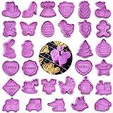 FHzytg - Set di 32 stampi per biscotti con espulsore, per torte, biscotti, in silicone, per Pasqua, San Valentino, giorno del Ringraziamento