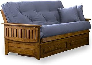 Brentwood Tray Arm Full Size Wood Futon Frame and Storage Drawers - Heritage Finish