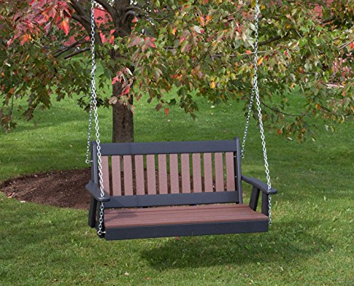 Ecommersify Inc 5FT-Cedar-Poly Lumber Mission Porch Swing Heavy Duty Everlasting PolyTuf HDPE - Made in USA - Amish Crafted