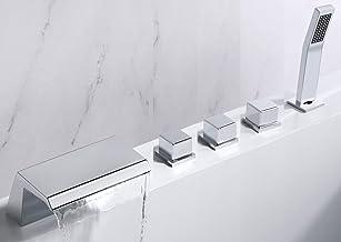 One Again Waterfall Tub Filler Bathtub Faucet Polished Chrome 5-Hole 3-Handle Solid Brass Bathroom Bath Tub Faucets Mixer ...