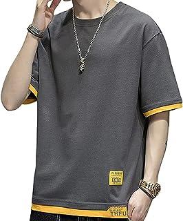 夏服 Tシャツ メンズ 丸首 半袖 おしゃれ 夏 ゆったり 綿100% ストリート系 レイヤード カジュアル メンズ tシャツ 吸汗速乾 快適