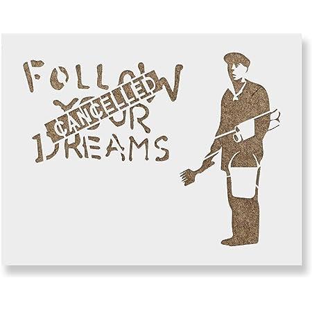SMALL - 6.7 x 6.7 inches by Ideal Stencils Ideal Stencils Banksy Pandamonium panda guns stencil