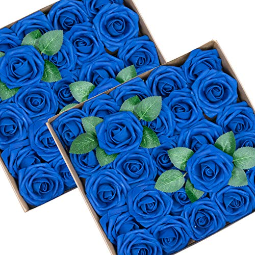 Foraineam 50pcs Artificial Roses Flower Real Looking Foam Rose Fake Flowers with Stem & Leaves for DIY Wedding Bouquets Centerpieces Party Home Decorations (Royal Blue)