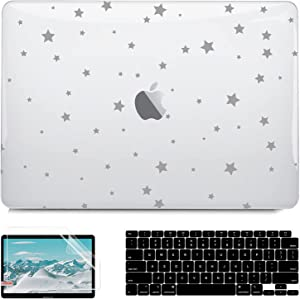 G JGOO Compatible with MacBook Air 13 Inch Case 2021 2020 2019 2018 Release M1 A2337 A2179 A1932 Touch ID, Clear Laptop Hard Shell Case + Keyboard Cover + Screen Protector, MacBook Air M1 Case, Stars