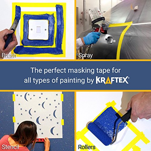 Painters Tape 180YRD x ¾ Inch for Pro Painting [CLEAN LINES EVERYTIME] 3 x 60YRD Rolls. Masking for Paint, Wallpaper, Wood, Glass, Metal. Protect Walls, Surface, Trim. Yellow Paper Tape, Prevent Stain Photo #6