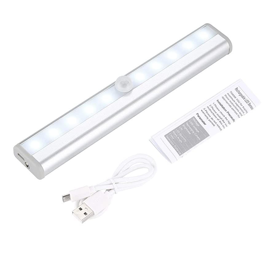 Tivollyff クリスマスプレゼント バッテリー&USB充電 10 LED キャビネットライト 自動PIRワードローブの棚のクローゼット モーションセンサーランプ 簡単なインストール ステッカー付き