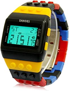 Mens Watch Sports Block Bricks Style LCD Digital Colorful Plastic Band