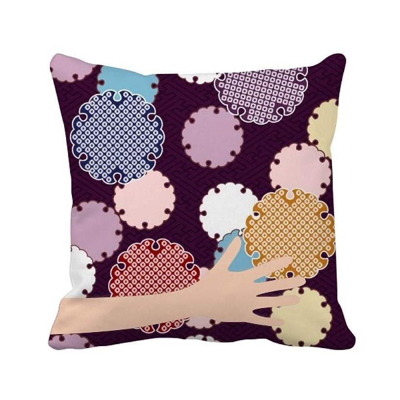 バルセロナ説得キロメートル日本の伝統の抽象的なパターン 手投げ枕カバー正方形