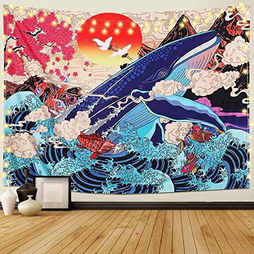 Tapiz japonés Ukiyo-e con ondas de mar Koi para pared, diseño de ballena grande, paisaje de paisaje de paisaje para colgar en la pared, decoración para dormitorio, sala de estar