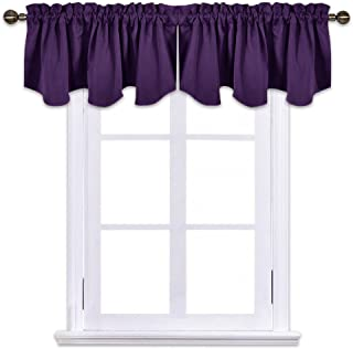 NICETOWN Blackout Window Draperies Curtains - 52-inch by 18-inch Scalloped Rod Pocket Valance Kitchen/Living Room/Bedroom Window Toppers Curtains, Royal Purple One Pair