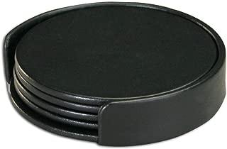 Dacasso Black Leatherette 4 Holder Coaster Set