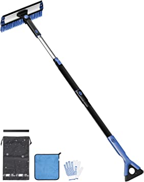 """JOYTUTUS Snow Brush, 5-in-1 Extendable 21""""-47"""" Snow Brush for Car, Durable & Sturdy, No Scratch, 270° Auto Snow Scraper with Brush, Foam Grip, Detachable ABS Ice Scraper for Car, SUV, Truck(Blue)…: image"""