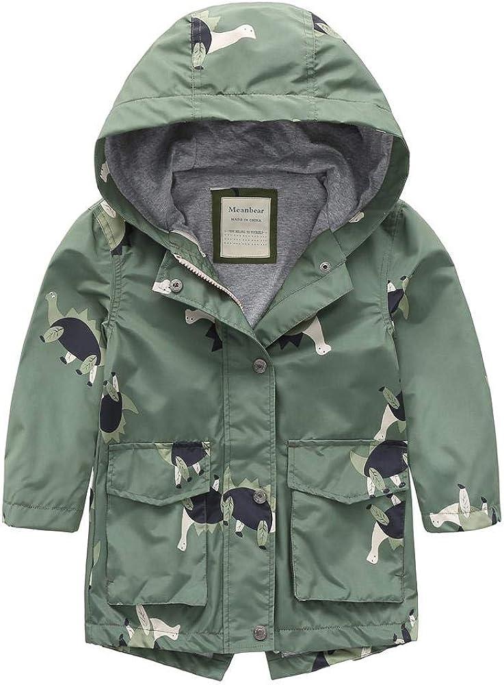 Boys Girls Hooded Rain Jacket Outdoor Waterproof Warm Cotton Lined Raincoat Printed Windbreaker for Kids