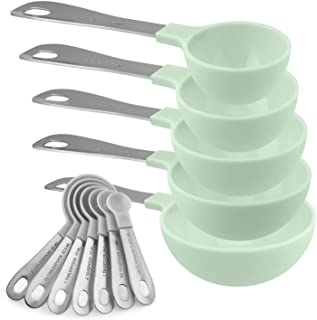 Cook with Color 12 Piece Plastic Measuring Cups Set and Measuring Spoon Set with Stainless Steel Handles, Nesting Kitchen ...