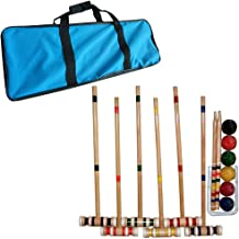 Croquet Set- Wooden Outdoor Deluxe Sports Set with Carrying Case- Fun Vintage Backyard..