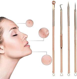 Cochanvie 4Pcs Blackhead Remover Pimple Tool Kit, Stainless Steel Blackhead Removal Tool Pimple Popping Kit, Pimple Extrac...