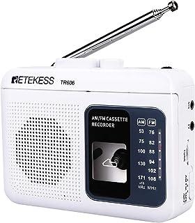 Retekess TR606 Mini Portable AM/FM Radio Telescopic Antenna Radio With Cassette Player Digital Radio Speaker Playback Voic...