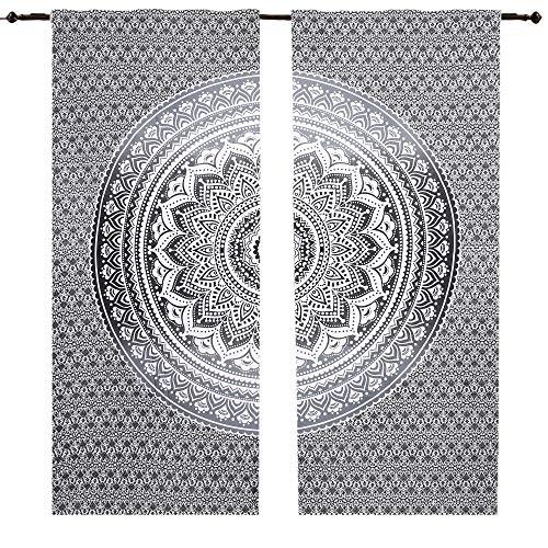 Set de cortinas de algodón con diseño de mandala. Color gris, negro y blanco. Para colgar en paredes y ventanas. Cortinas hippies, indias, bohemias, psicodélicas, etc.