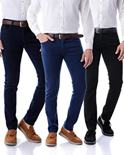 andora Slim-Fit Side Pocket Jeans for Men, Set of 3 - Multi Color
