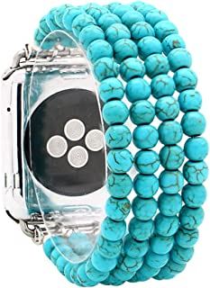 KAI Top Replacement iWatch Band Fashion Beaded Created-Turquoise Elastic Jewelry Bracelet Band Strap Women Girl Compatible for 38mm 42mm Apple Watch Series 3/2/1 (Created-Turquoise, 38mm)