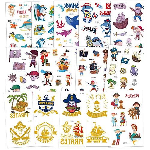 Tattoo Kinder, AGPTEK Pirate Tattoos Set, 14 Blätter Wasserdichte Kindertattoos mit Bronzing Pirate, Shark, Aufkleber für Jungs, Kindergeburtstag Mitgebsel, Party, Festival, 250 Stücke