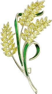 Mecool Broche de esmalte con punta de arroz, broche de síntesis brillante, circonitas cúbicas para mujer