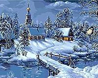 クリスマス風景デジタルキットデッサンDIY絵画キャンバス絵画40x50cm