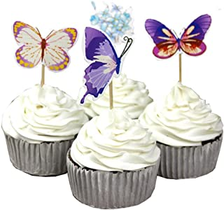 Garden Butterfly Flowers Cupcake Toppers Picks Girls Assorted Celebration Birthday Cake Decorations Set of 24pcs