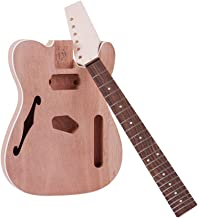 Muslady TL Electric Guitar Unfinished Kit DIY Tele Style Mahogany Body with F Soundhole Maple Wood Neck Rosewood Fingerboard