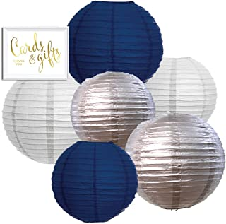 Andaz Press Navy Blue, Silver, White Hanging Paper Lanterns Decorative Kit, 6-Pack with Free Gifts Table Party Sign, Starry Night, Airplanes, Ocean, Midnight in Paris, Twinkle Twinkle Little Star