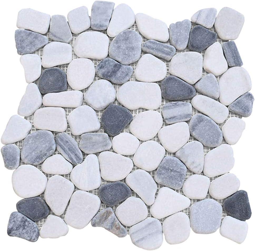 FuStone Detroit Mall Marble Tiles Interlocking Regular store Natrua Decorative Pebble