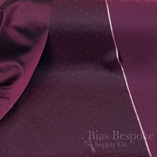 Beatrix 100% Cupro Bemberg Dark Fuschia Jacquard Polka Dot Lining, by The Yard, Made in Italy