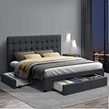 Double Bed Frame, Artiss AVIO Fabric Bed Frame Base with Storage Drawers, Charcoal