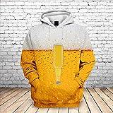 Sxcyu Fashion 3D impresión de Botellas de Cerveza Sudadera con Capucha Casual para Hombres Sudadera Suelta de otoño e Invierno para Hombres, F143, XXL