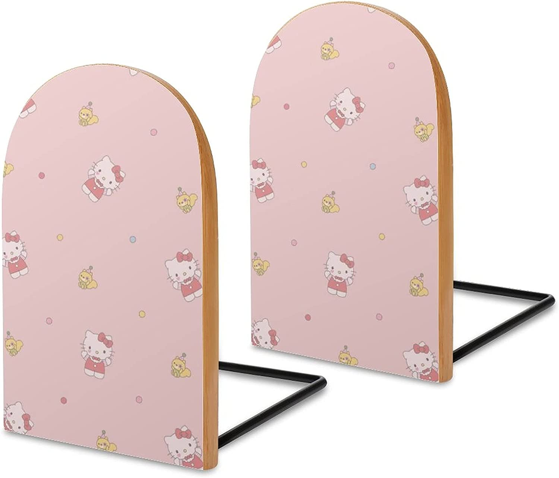KRISMARIO Hellokitty Pink 2pcs Heavy Wood Logs Bookends Modern f