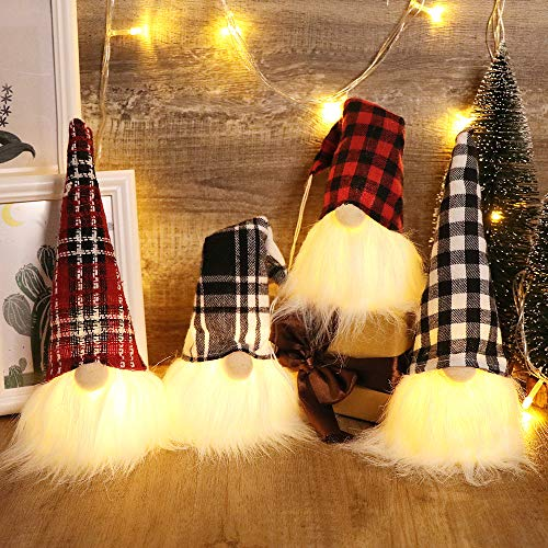 S-DEAL Christmas Gnome Plush Scandinavian Light Tomte Buffalo Nordic Figurine Swedish Yule Santa Holiday Decorations Winter Table Ornament, 9 Inches Tall Set of 4