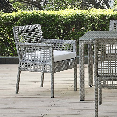 Modway EEI-2920-GRY-WHI Outdoor Patio Wicker Rattan, Dining Armchair, White