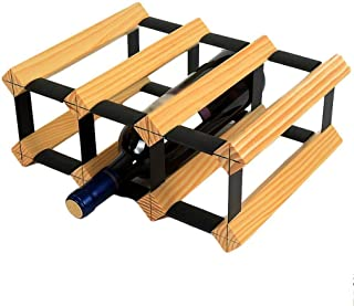 EL-LZWH Plaid Wine Rack - Free Standing Wine Rack - Wine Rack Combination - Bar, Kitchen, Cabinet (Color : Wood Color)