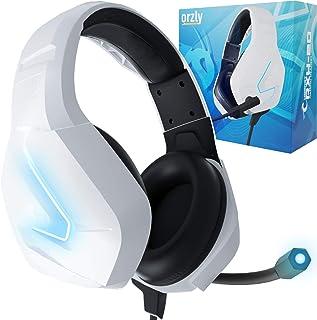 Orzly hörlurar PC spelheadset för PS5 PS4 Xbox One Nintendo Switch brusreducering, Over-Ear, PS5-headset med LED-lampor, P...