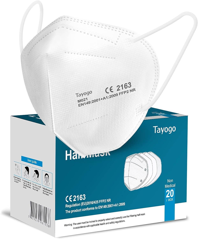 Tayogo Mascarillas FFP2 Desechables 10/20/50PCS Homologadas de 5 Capas de Filtro Certificado CE 2163 - EU